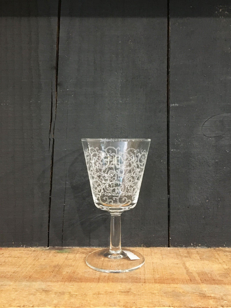 Vintage Wine Etched Patterned Glass