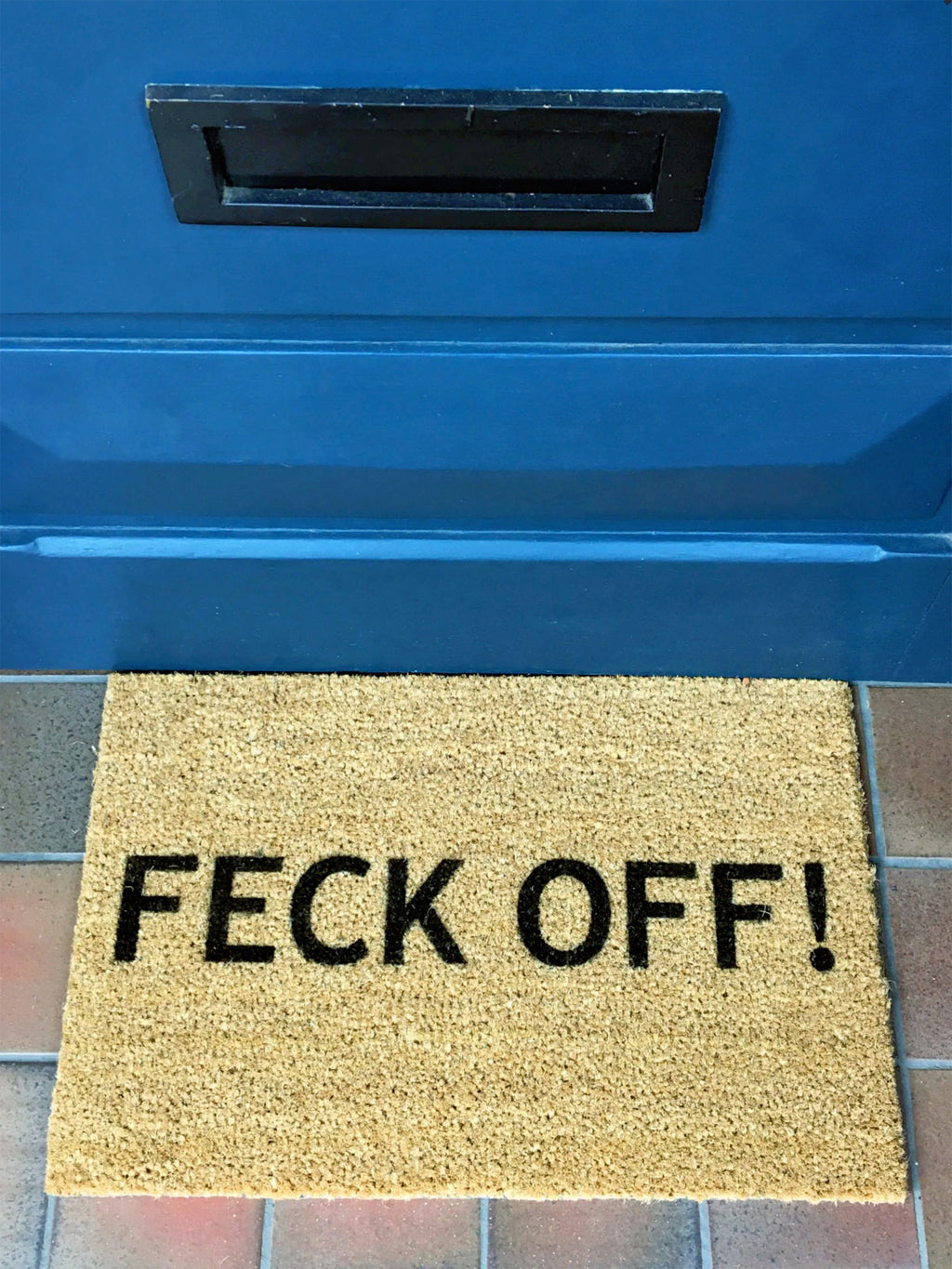 Artsy Slogan Doormat 'Feck Off'