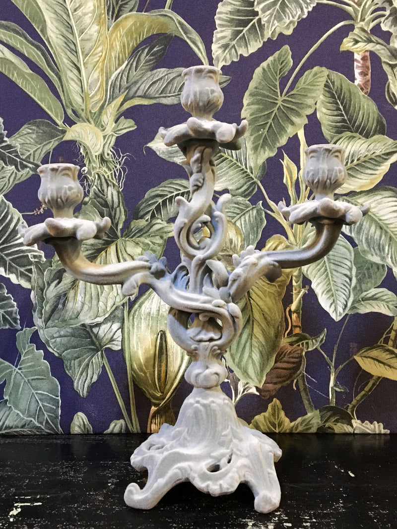 Fabulous Flocked Ornate Candelabra - Grey