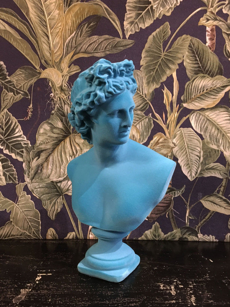 Fabulous Flocked Apollo Bust - Aqua