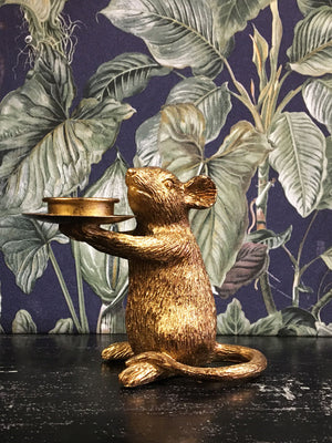Mouse Candle Holder Right Gold