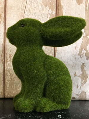 Flocked Grass Sitting Bunny 25cm