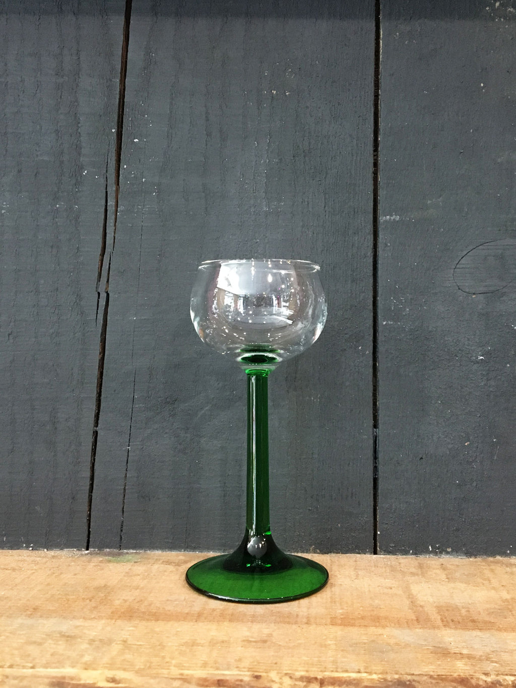 Vintage Small Green Stem Hock Wine Glass