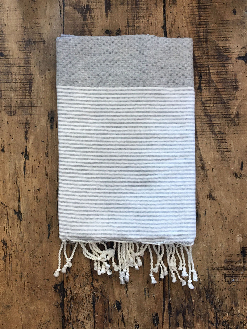 Honeycomb Weave Fouta Grey