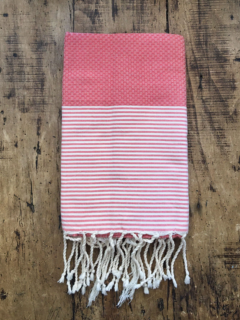 Honeycomb Weave Fouta Red