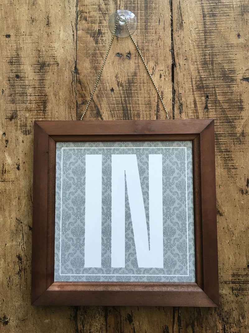 In /  Out Framed Hanging Sign