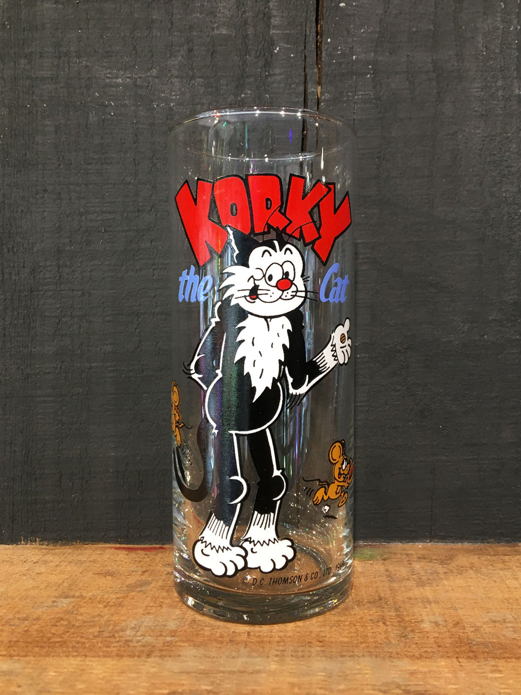 Vintage Coloroll Korky the Cat Hi-Ball Glass