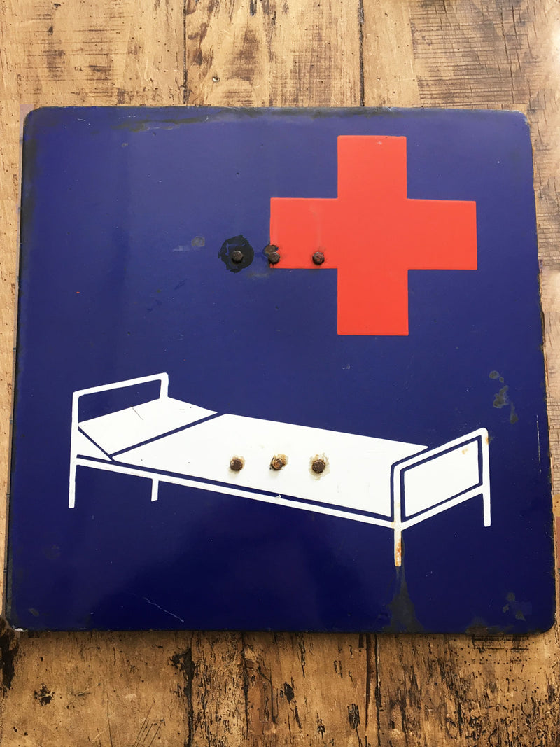 Vintage Polish Hospital Bed Enamel Sign