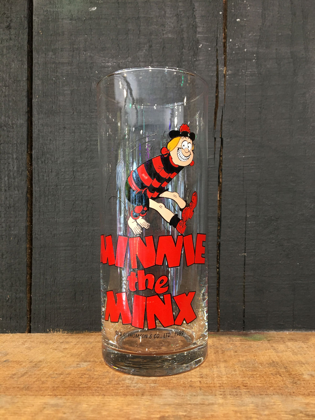 Vintage Coloroll MInnie the Minx Hi-Ball Glass