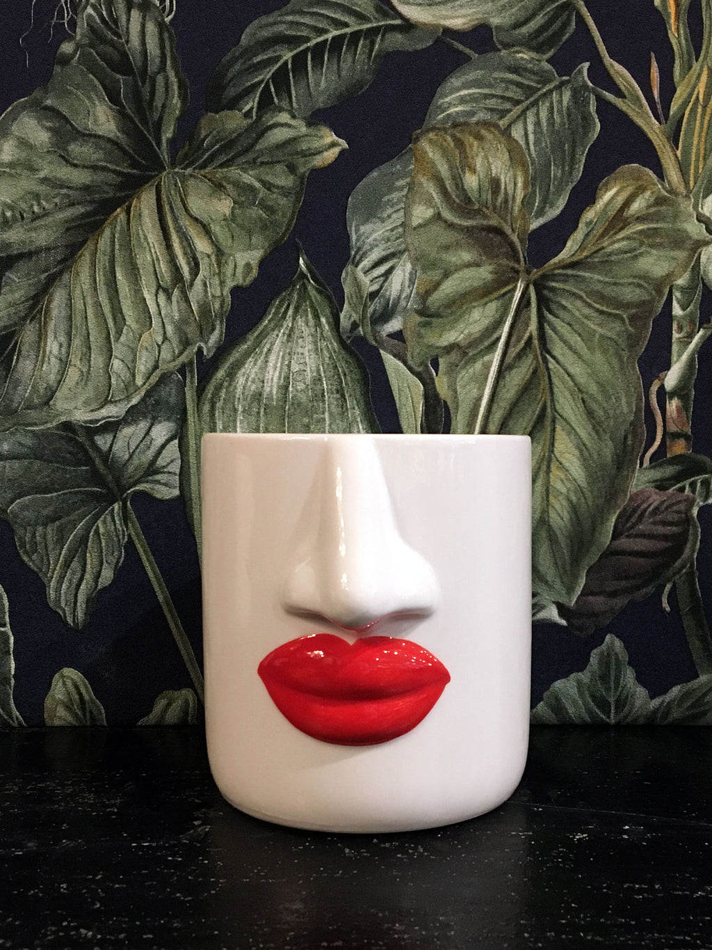 Red Lips Ceramic Pot
