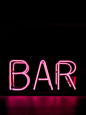 'Bar' Acrylic Neon Light Box - Pink
