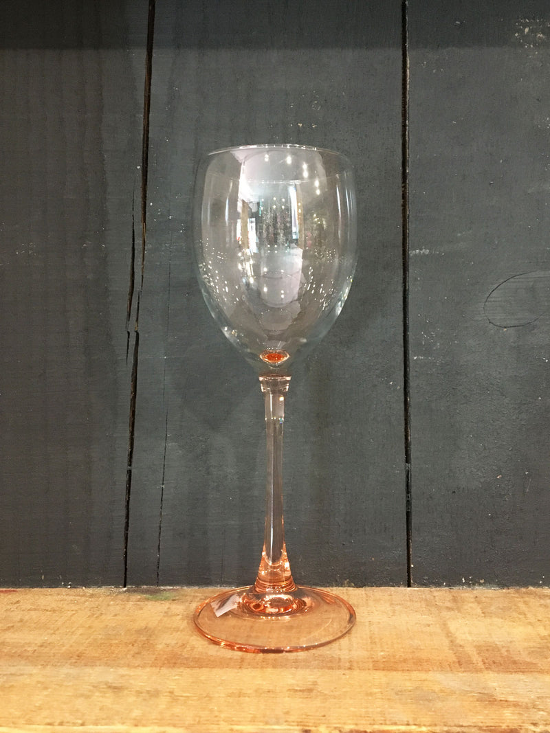 Vintage Pink Stem Wine Glass
