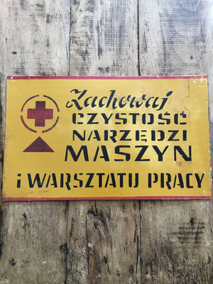 Vintage Polish Factory Metal Sign - Maszyn