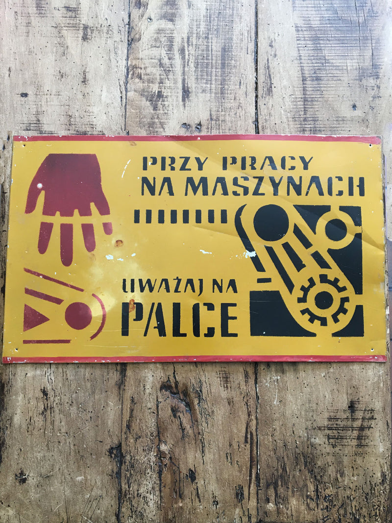 Vintage Polish Factory Metal Sign - Palce