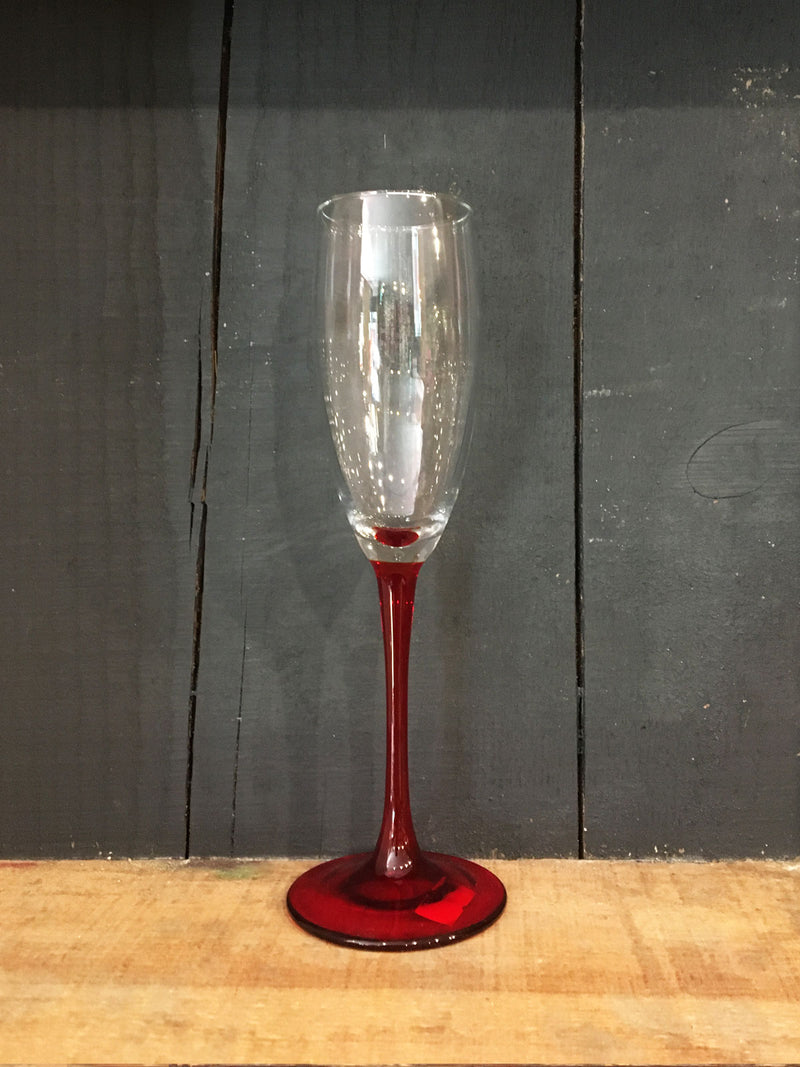 Vintage Red Stem Flute Glass