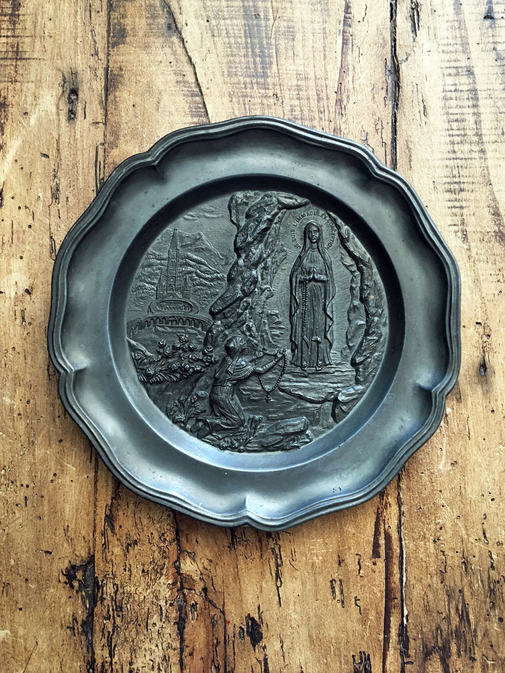 Vintage French Pewter Lourdes Plaque