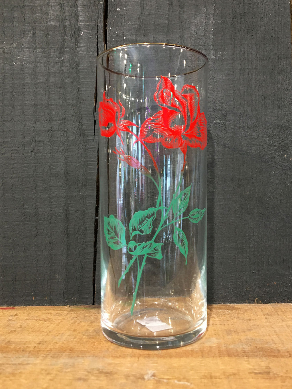 Vintage Rose print Hi-Ball Glass