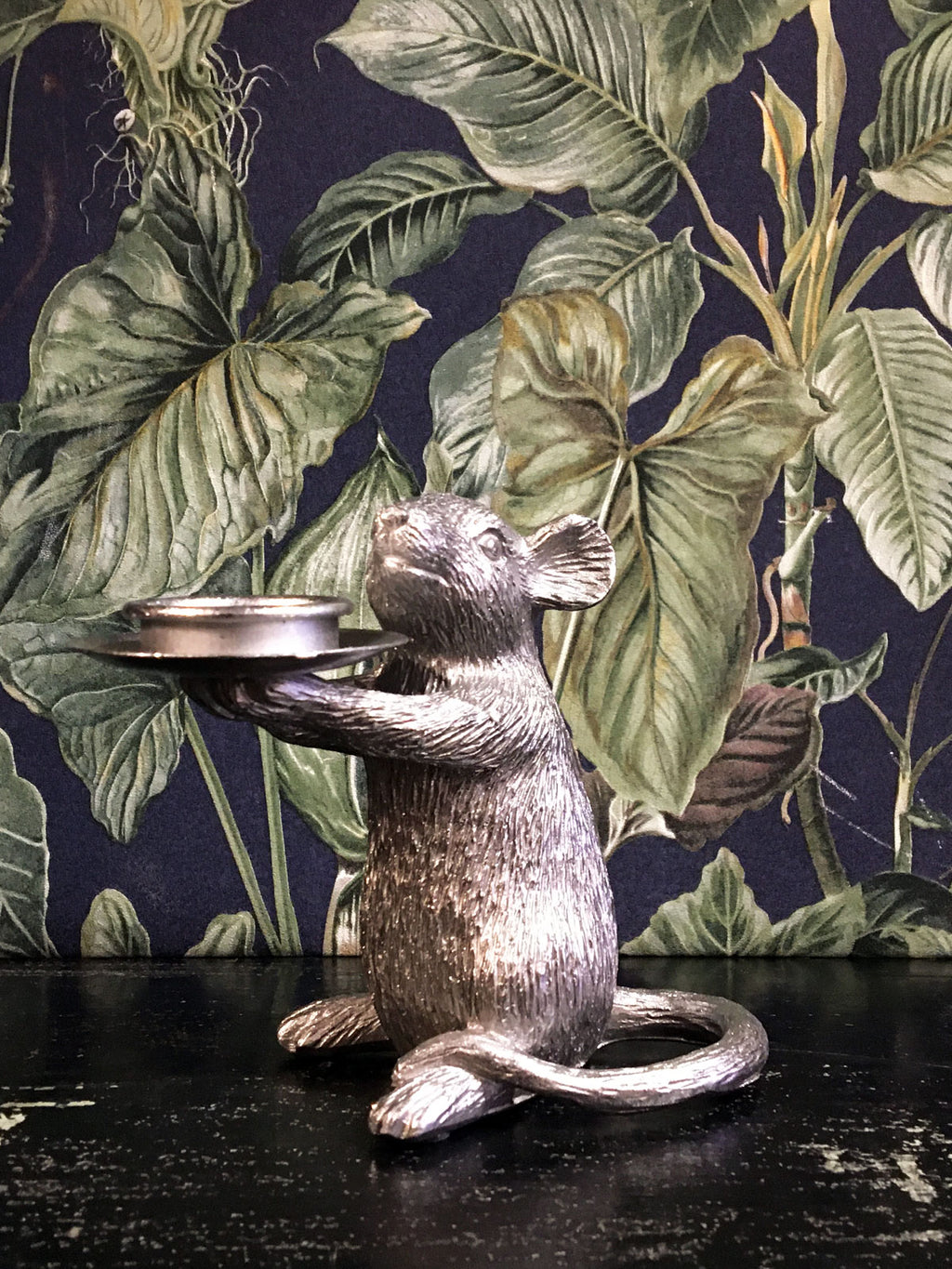 Mouse Candle Holder Right Silver