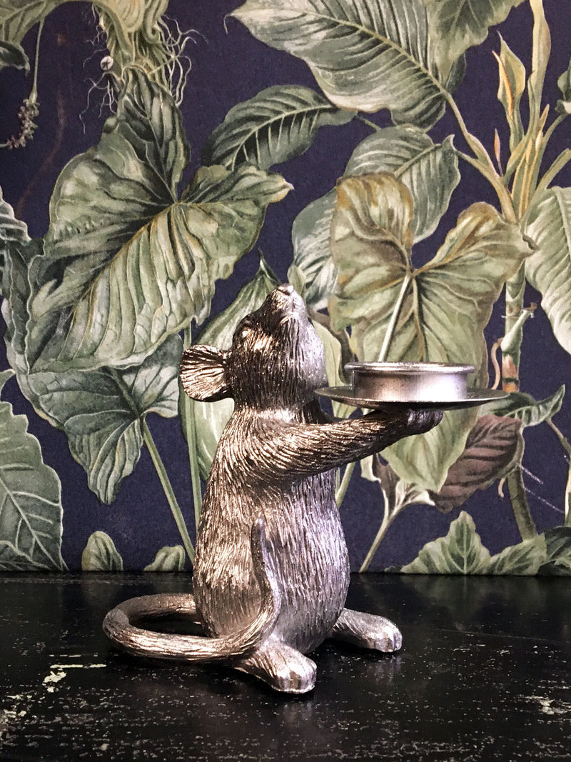 Mouse Candle Holder Left Silver