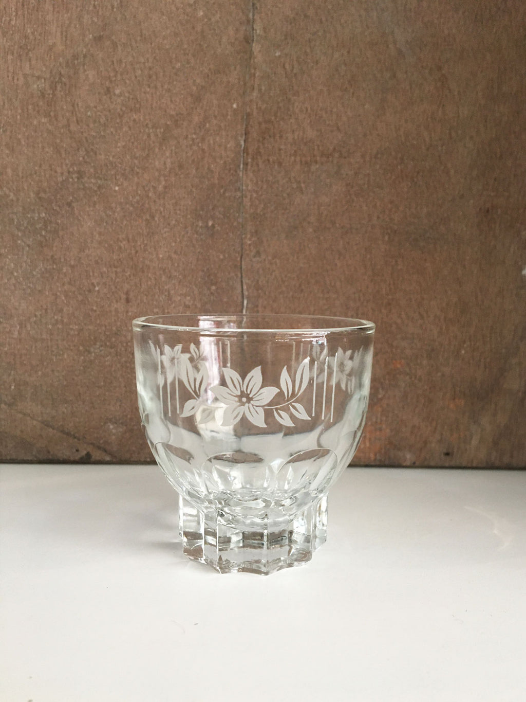 Vintage French Floral Etched Shot Glass