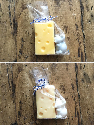 Mouse and Cheese Soap - White or Grey
