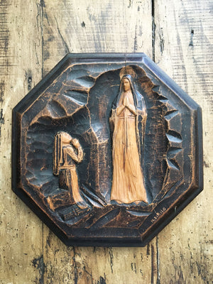 Vintage French Religious Wall Plaque
