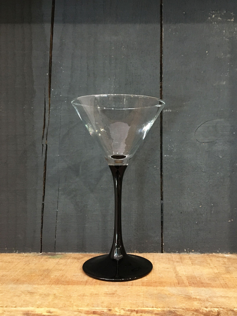 Vintage Black Stem Cocktail Glass