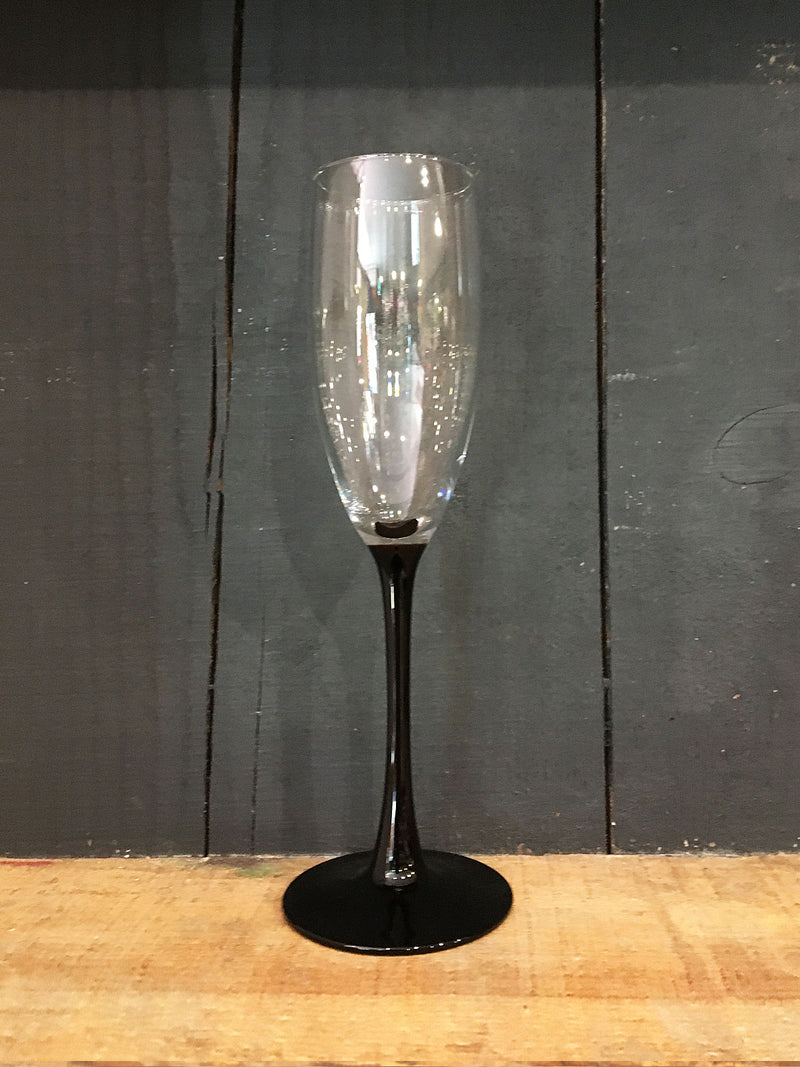 Vintage Black Stem Flute Glass