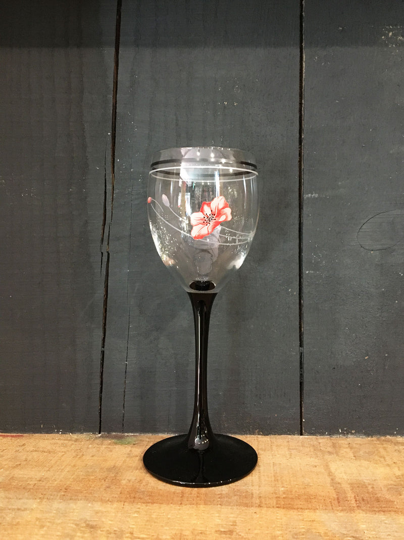 Vintage Black Stem Summerfield Floral Wine Glass