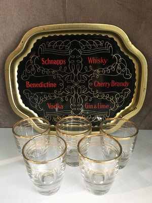 Vintage Shot Glasses And Tray Set