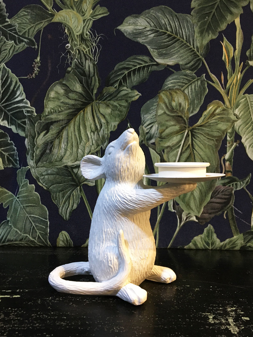 Mouse Candle Holder Left White