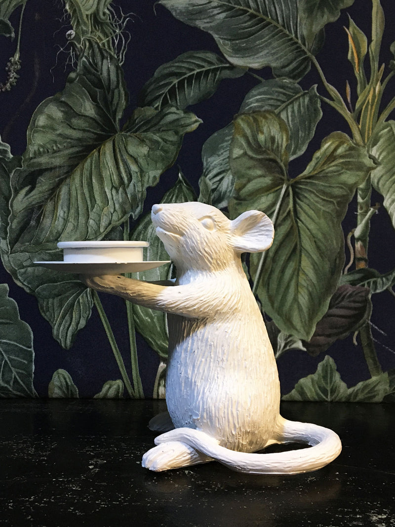 Mouse Candle Holder Right White