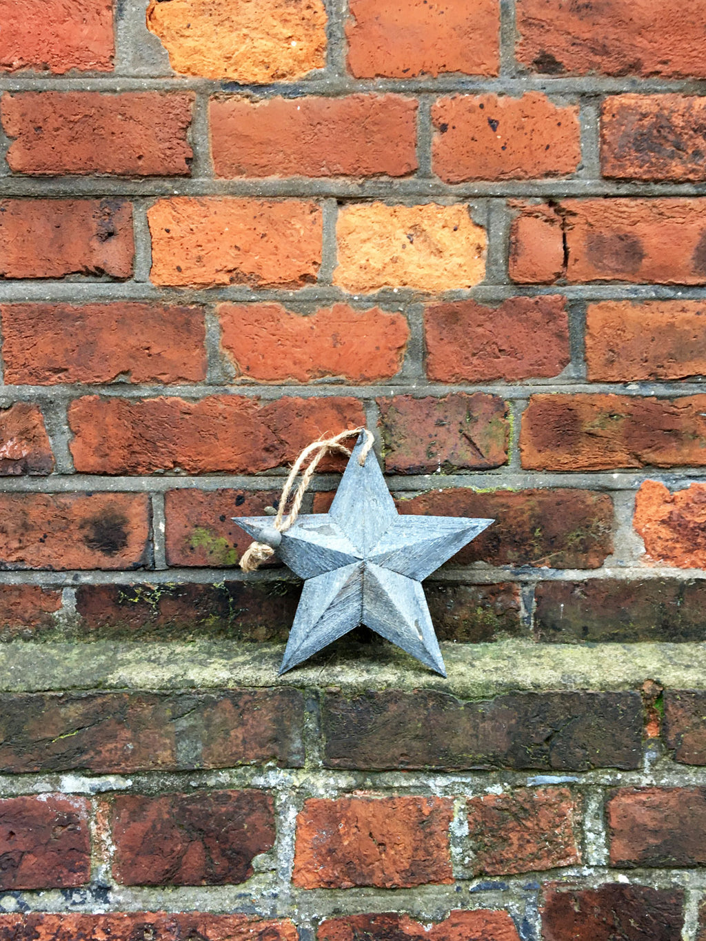 Grey Washed Wooden Barn Star -  XS