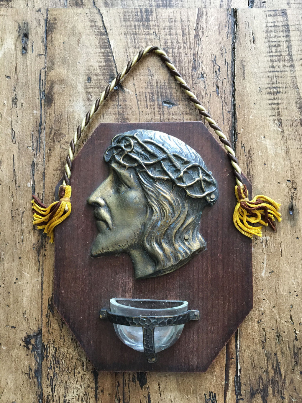 Vintage French Religious Font Plaque