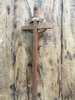 Vintage Wooden French Crucifix