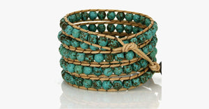 Natural Turquoise Stone Wrap Bracelet - FREE SHIP DEALS