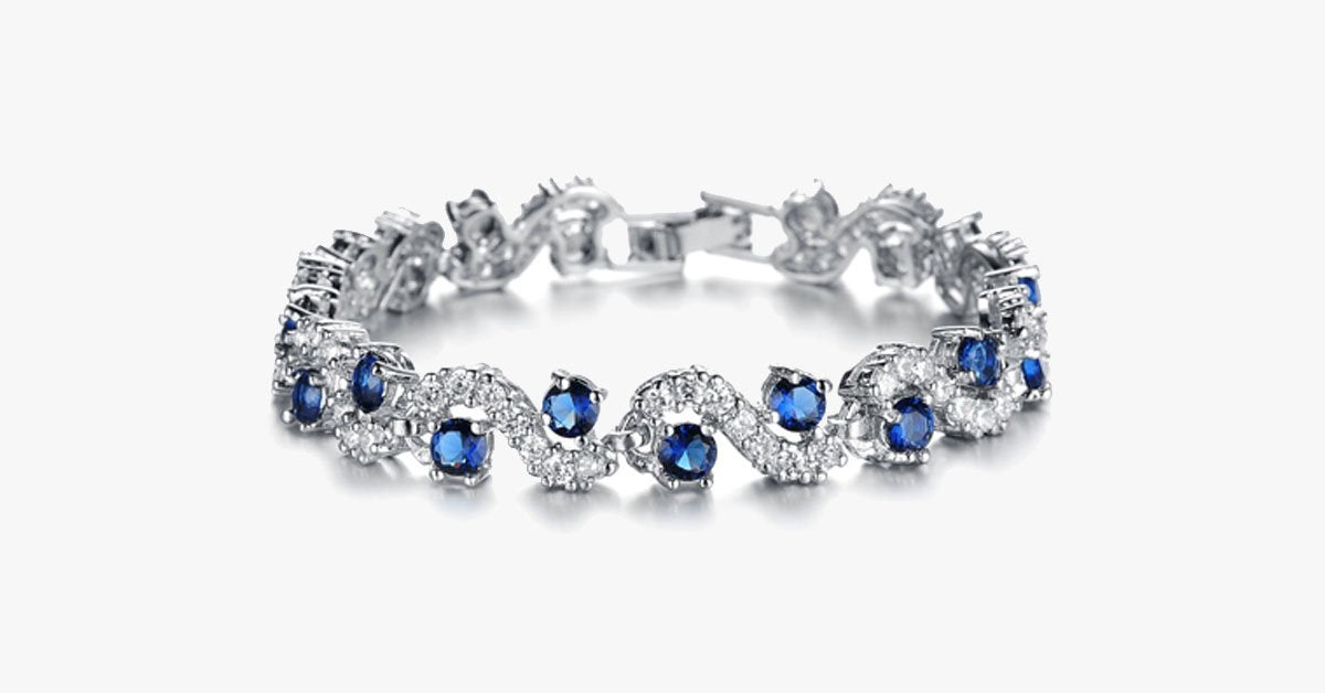 Majestic Sapphire Bracelet in 18K White Gold With Sapphire Stone