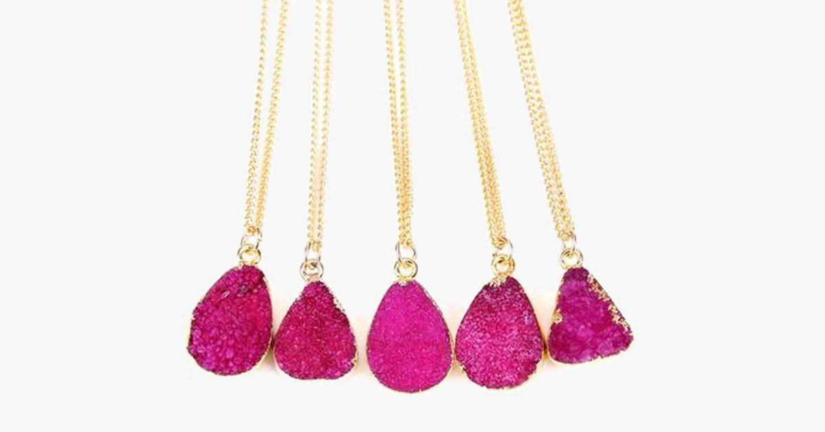 Rose Red Druzy Stone Necklace