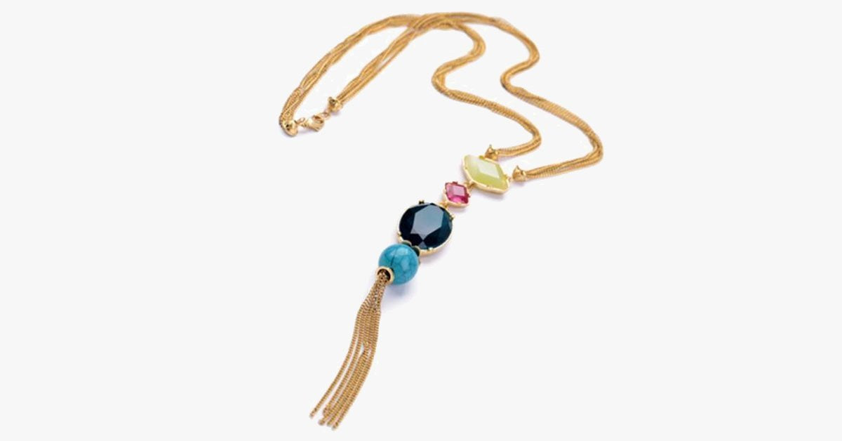 Long Multi-Colored Gem Stone Tassel Necklace - FREE SHIP DEALS