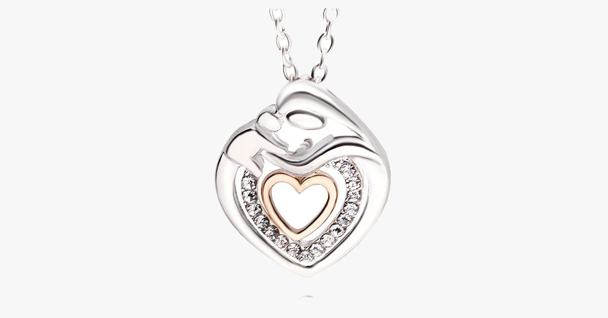 Cute Mommy And Baby Heart Pendant Necklace - FREE SHIP DEALS