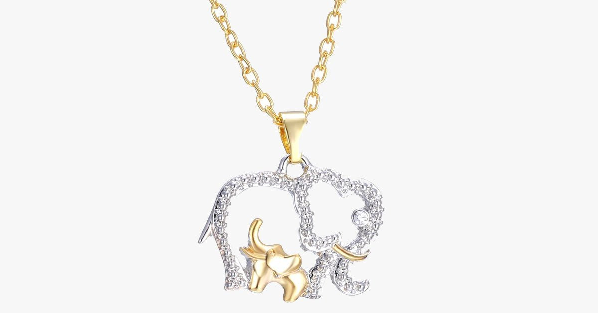 Mommy And Baby Elephant Pendant Necklace - FREE SHIP DEALS