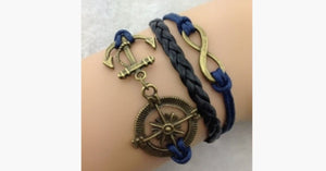 Infinity Compass Anchor Bracelet