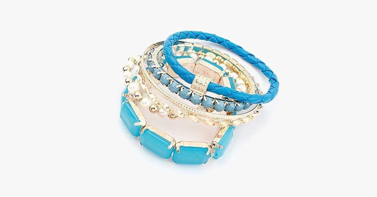 Ocean Blue Pearl Bracelet Set - FREE SHIP DEALS