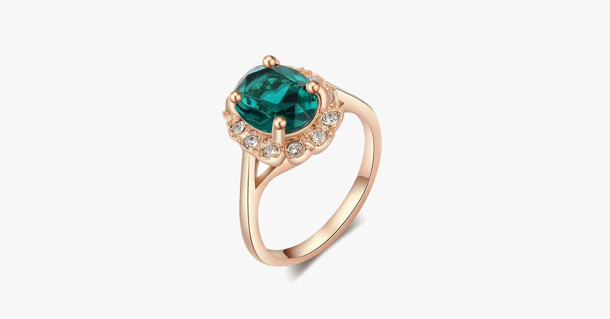 Florence Emerald Rose Gold Ring - FREE SHIP DEALS
