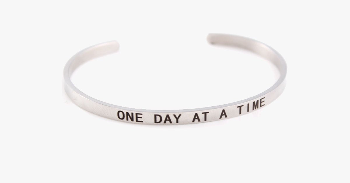 One Day At A Time Engraved Bangle - FREE SHIP DEALS