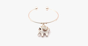 Elegant Rose Gold Elephant Charm Bangle - FREE SHIP DEALS