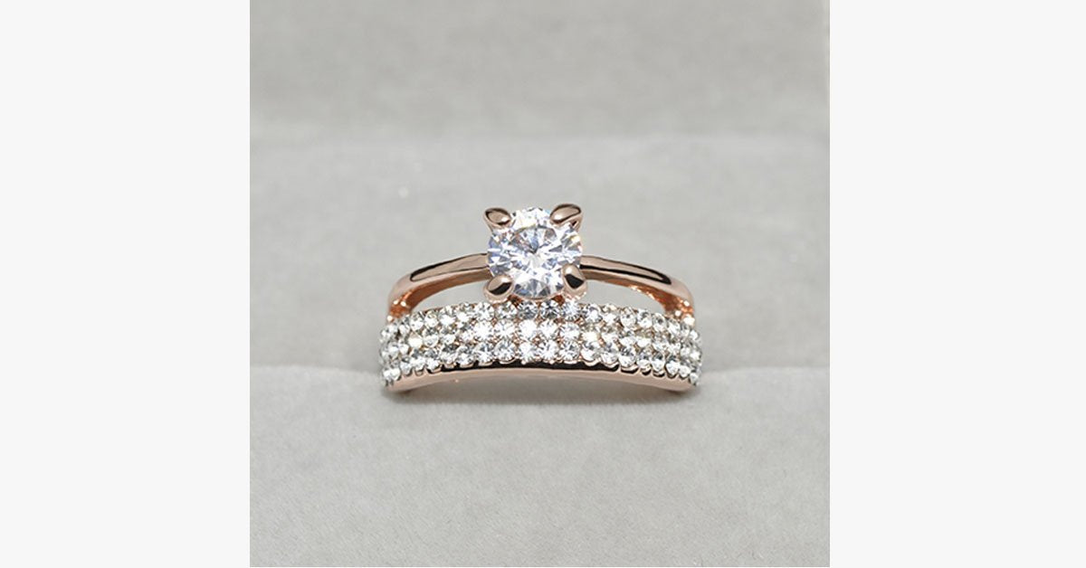 Austrian Crystal Double Band Ring - FREE SHIP DEALS