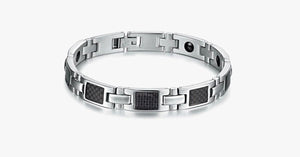 Silver on Black Stainless Steel Men's Bracelet - FREE SHIP DEALS