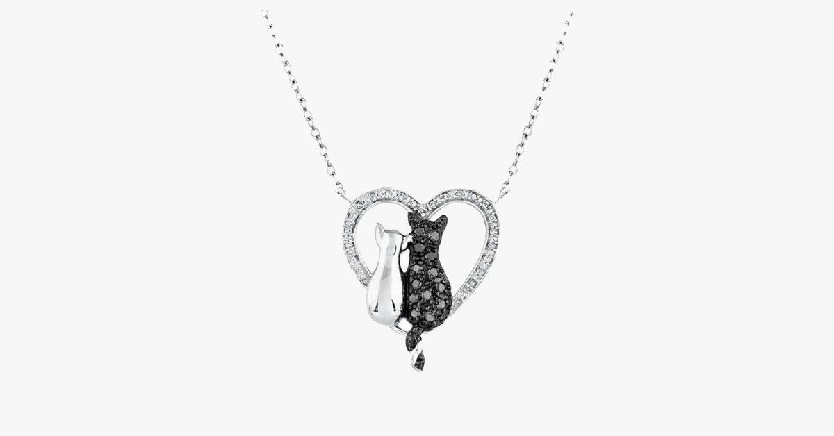 Bow-Knot Crystal Cat Pendant Necklace - FREE SHIP DEALS