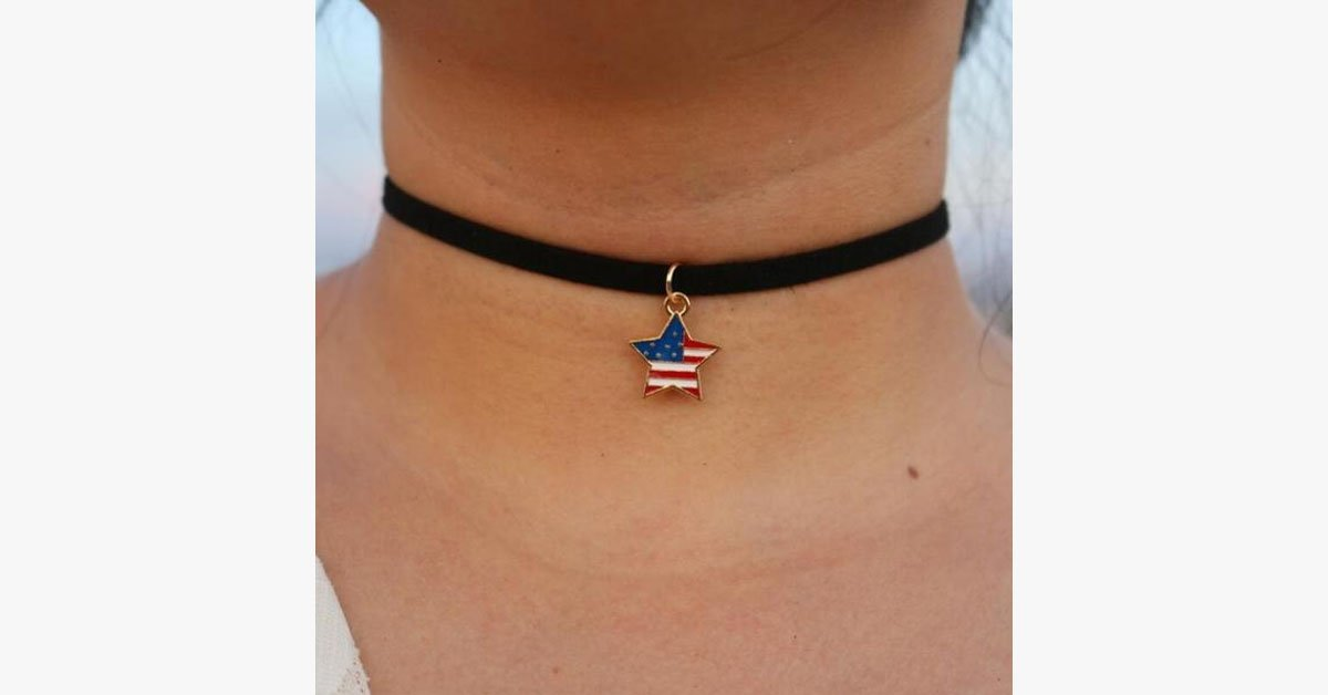 Simple Flag Pattern Pendant Choker - FREE SHIP DEALS